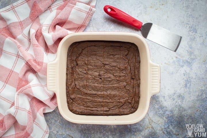 baked brownies sliced in pan