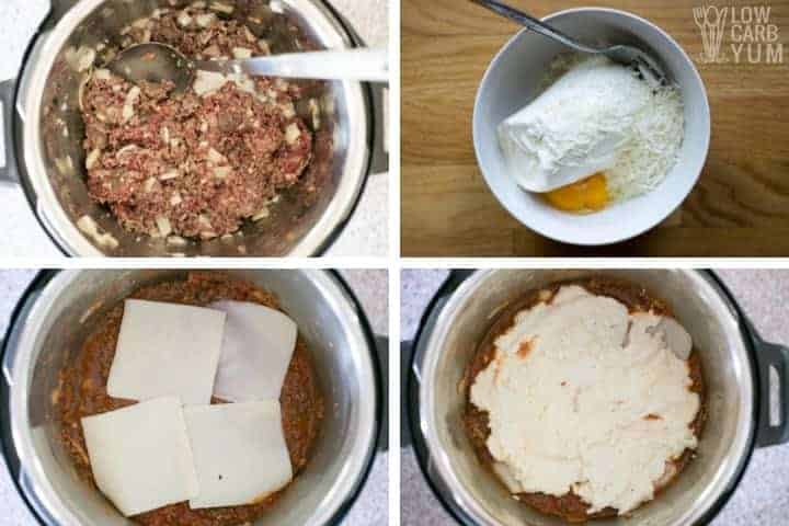 Directly in pot method for Instant Pot lasagna initial steps