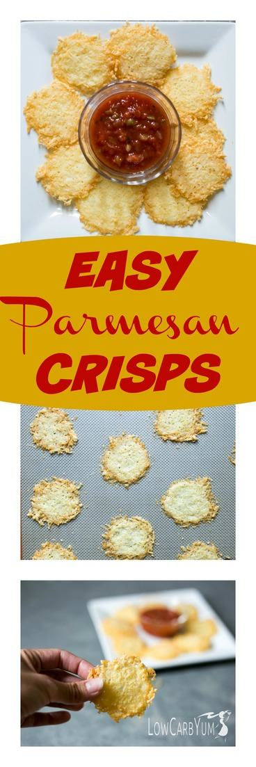 An easy #lowcarb parmesan crisps idea. It takes less than 10 minutes to make this snack! #keto #lowcarb #ketorecipes #cheese #ketosnack | LowCarbYum.com