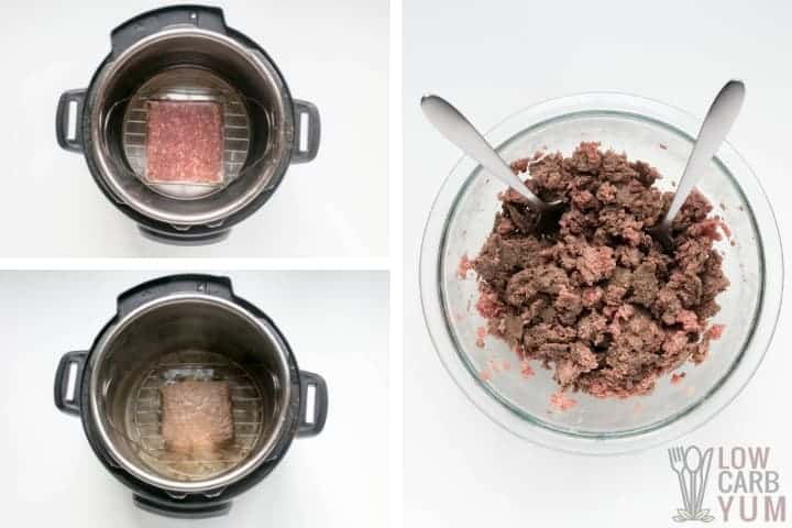 How to thaw and partially brown ground beef in an Instant Pot