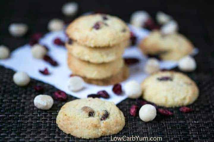 Fruity coconut flour cranberry orange cookies that are low carb and gluten free. A perfect treat that pairs well with a cup of coffee or tea.