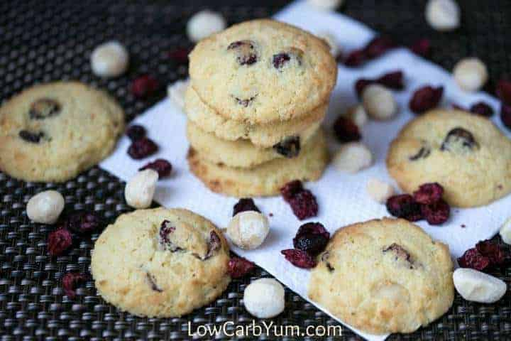 Fruity coconut flour cranberry orange cookies that are low carb and ...