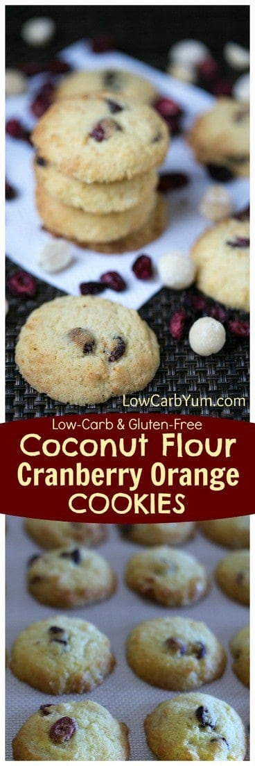Fruity coconut flour cranberry orange cookies that are low carb and gluten free. A perfect treat that pairs well with a cup of coffee or tea. | LowCarbYum.com