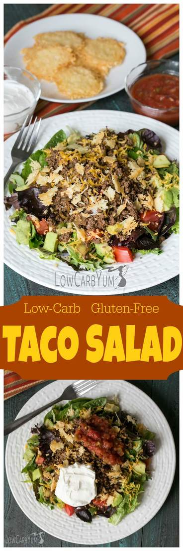Enjoy the taste of tacos in an easy to make low carb gluten free taco salad. Simply add taco meat and topping to your favorite lettuce mix. | LowCarbYum.com