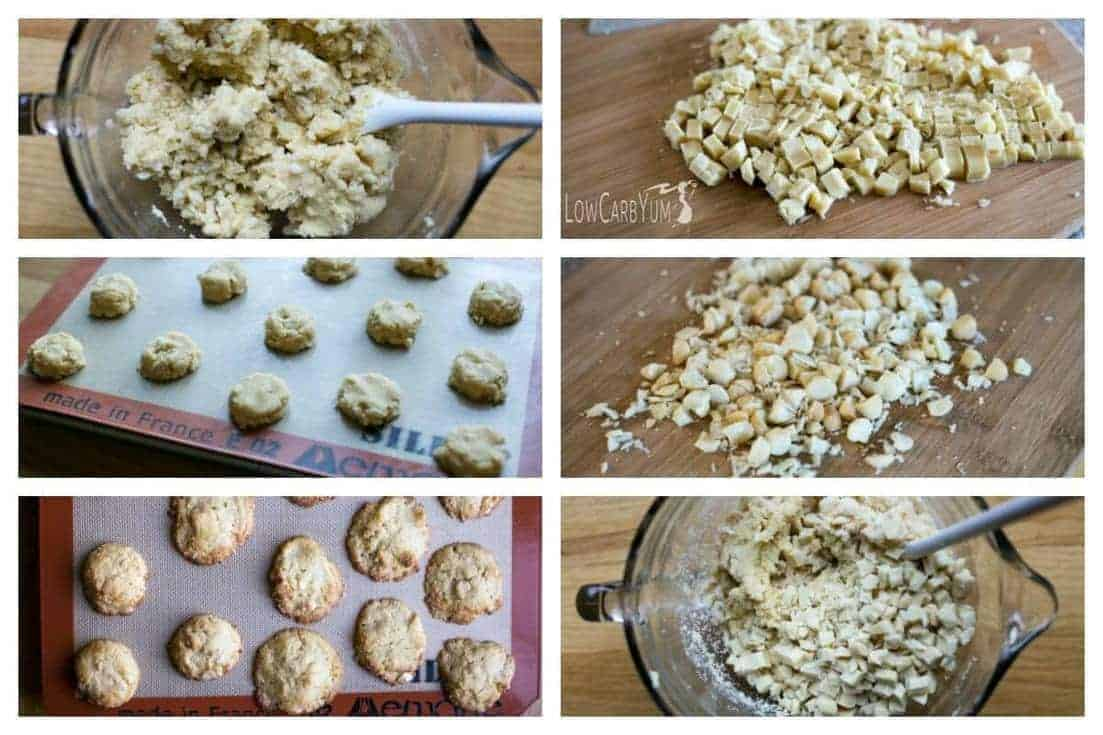 adding white chocolate and macadamia nuts then baking cookies