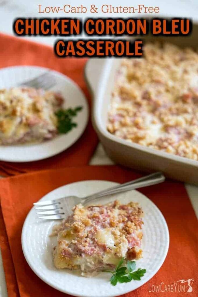 A delicious low carb chicken cordon bleu casserole that's quick and easy. It's the perfect meal solution for your family on busy evenings. | LowCarbYum.com