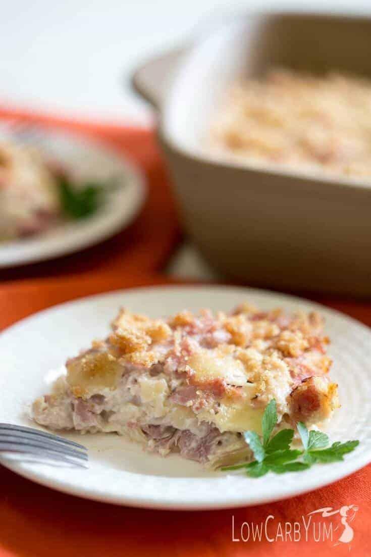 low-carb chicken cordon bleu casserole
