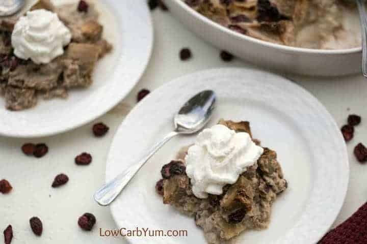 A delicious cranberry eggplant bread pudding. There's no actual bread in it. Eggplant is used instead and you'd never know it by taste!   LowCarbYum.com