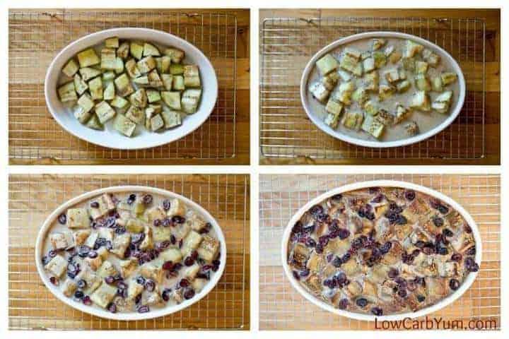 Low carb cranberry eggplant bread pudding