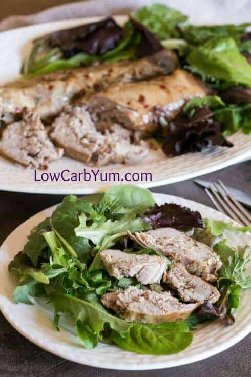 Serving the low carb Crock Pot balsamic tenderloin