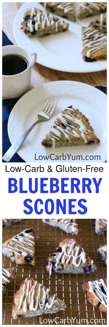 Tasty low carb blueberry scones are a welcoming breakfast treat. Made from a mix of almond and coconut flour, they are also gluten free.   LowCarbYum.com