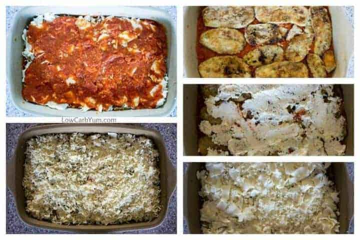 layering the low carb eggplant parmesan dish in casserole pan