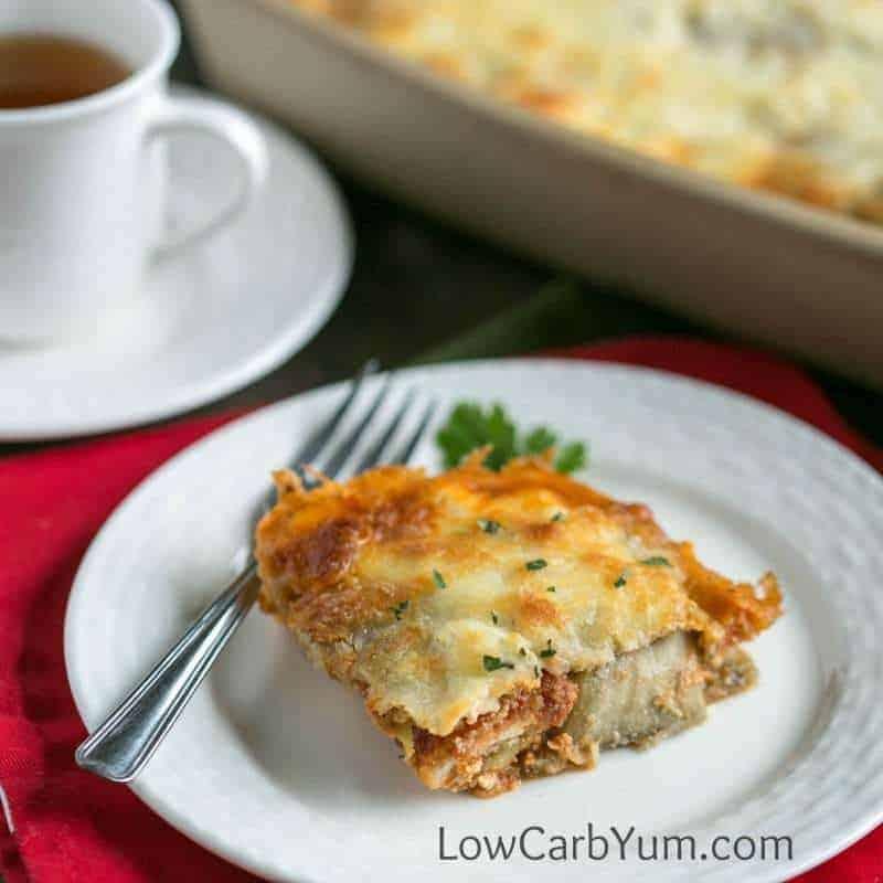 Low carb gluten free eggplant parmesan casserole