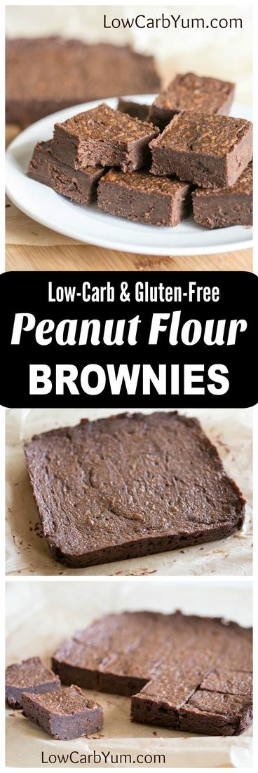 Gluten free chocolate brownies made with peanut flour. These low carb peanut flour brownies make nice portable snacks that you can bring with you anywhere. | lowcarbyum.com
