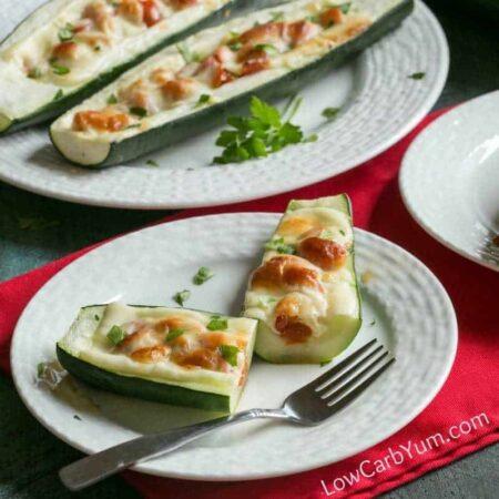 Low carb gluten free zucchini pizza boats