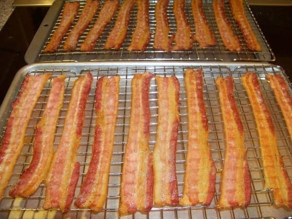 Bacon on racks after baking