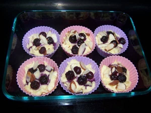 Cream Cheese Muffins topped with Blueberry and Almond