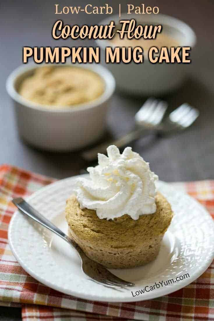 A yummy coconut flour paleo pumpkin mug cake that whips up in less than 2 minutes. Just mix the ingredients together in a small cup and microwave!