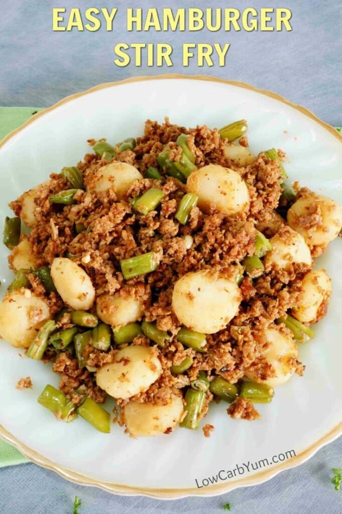 With green bean carbs being low, they are a great vegetable for a low carb diet. Try them in this hamburger green stir fry skillet recipe.   LowCarbYum.com