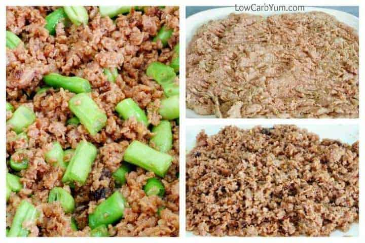 Easy hamburger green bean skillet stir fry