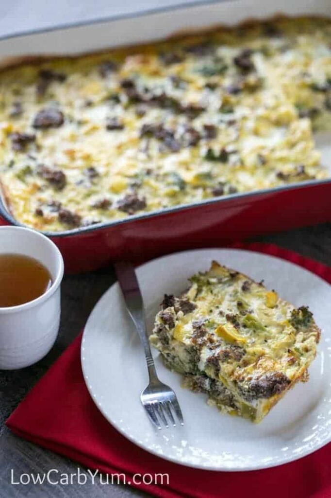 An easy paleo breakfast casserole with sausage and vegetables. Make ahead on the weekend for a full week of low carb breakfasts or freeze some for later.