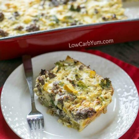 Easy paleo breakfast casserole with sausage and vegetables