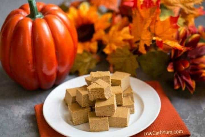 An easy pumpkin fudge recipe that's sugar free and paleo diet friendly. There's no need to feel guilty indulging in this yummy low carb treat!