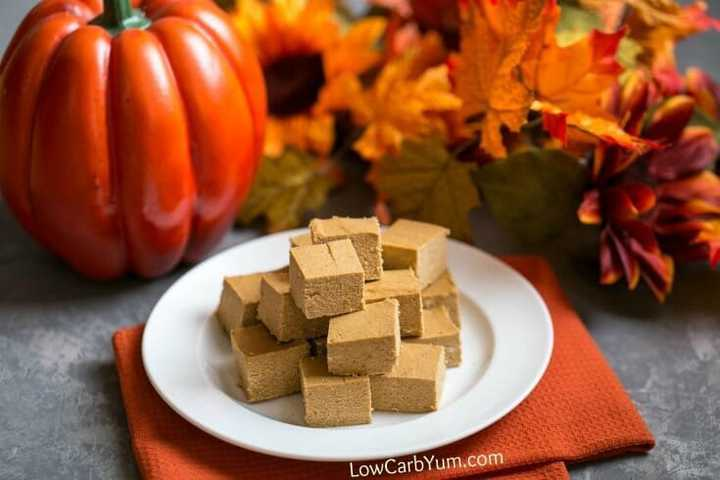 easy paleo pumpkin fudge squares on plate