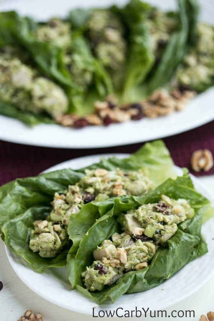 A low carb cranberry walnut chicken salad made with California walnuts. You'll love this paleo friendly chicken salad without mayonnaise. | LowCarbYum.com