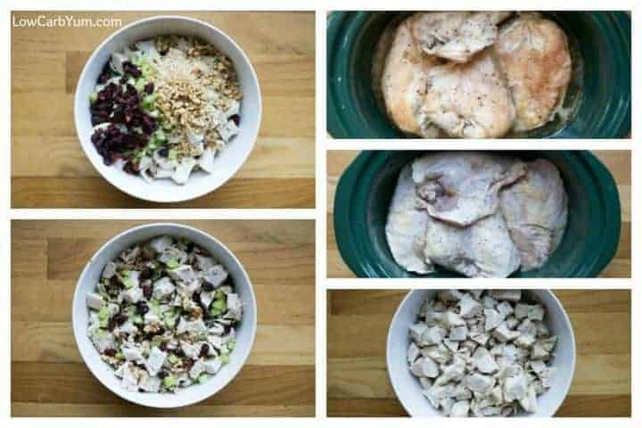 Low carb paleo cranberry walnut chicken salad