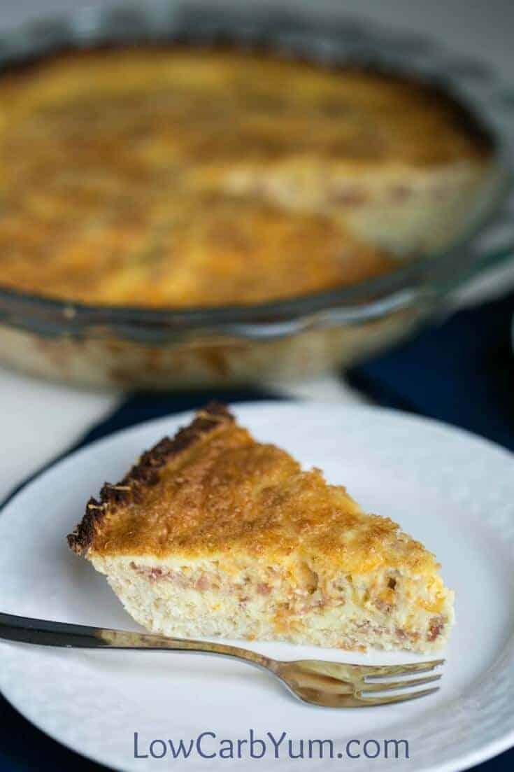 closeup of quiche slice