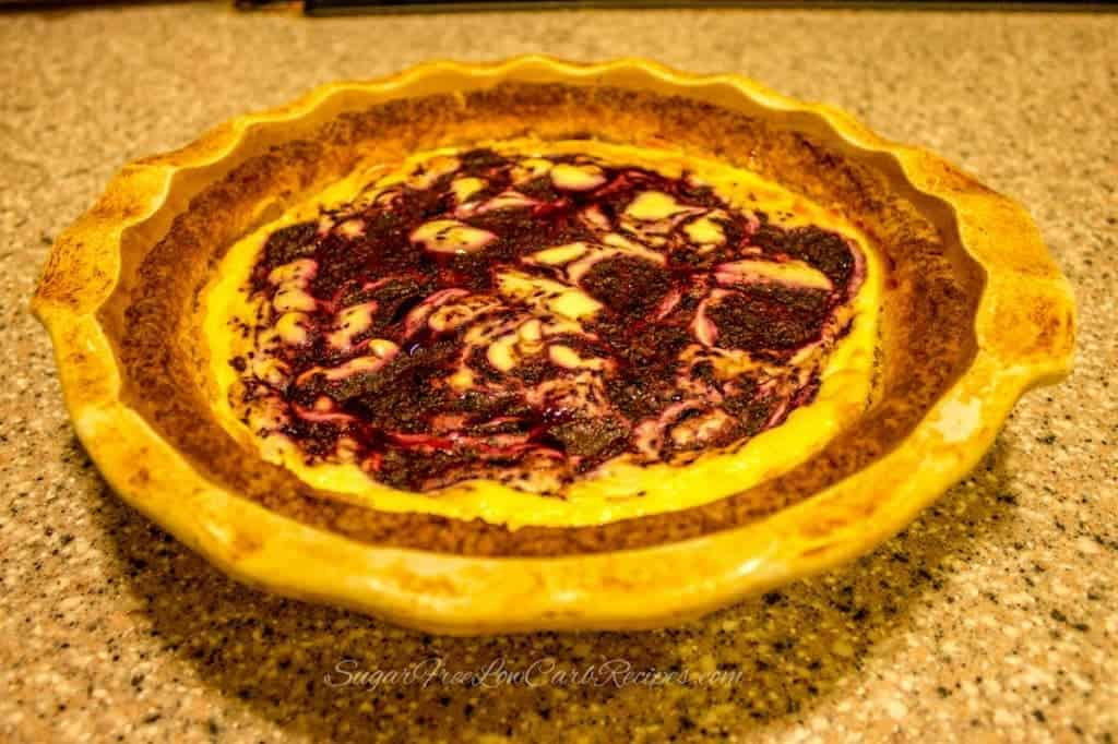 low carb gluten free blueberry swirl cheesecake