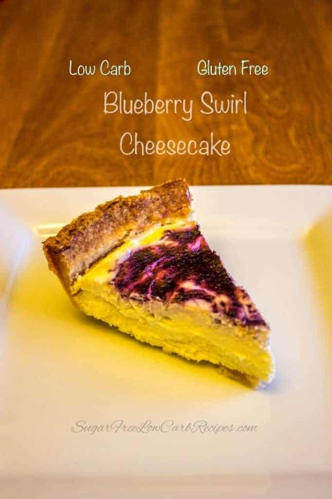 low carb blueberry swirl cheesecake slice