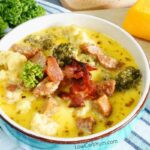 Broccoli cauliflower cheese soup with sausage and bacon