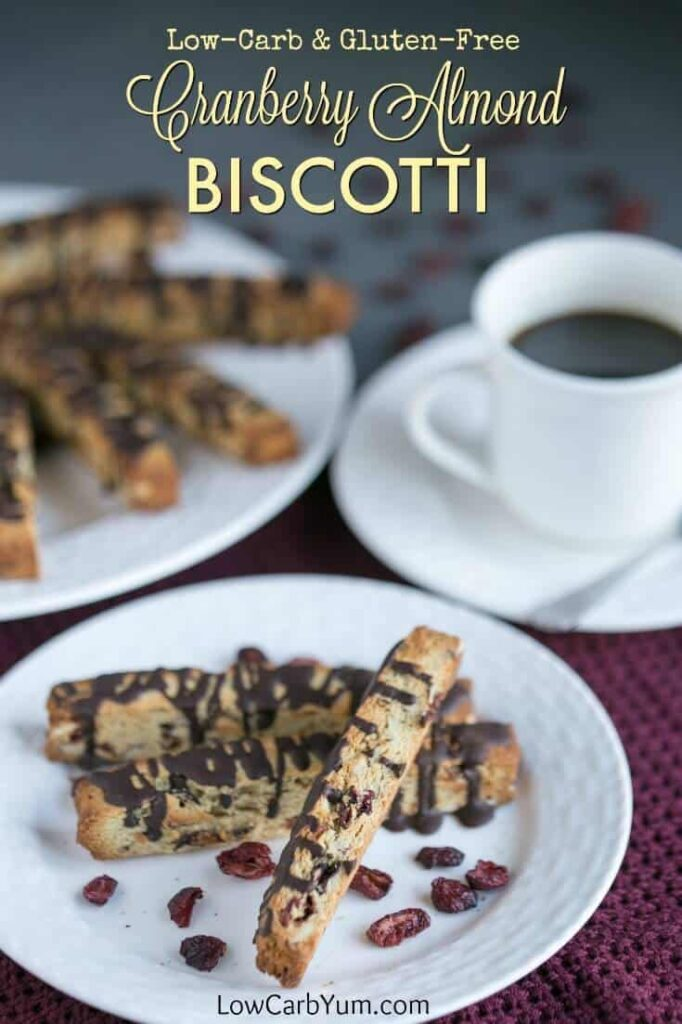 Low carb cranberry almond biscotti cookies are elegant yet easy to make. They make a tasty gluten free snack or holiday cookie. Perfect with coffee or tea!