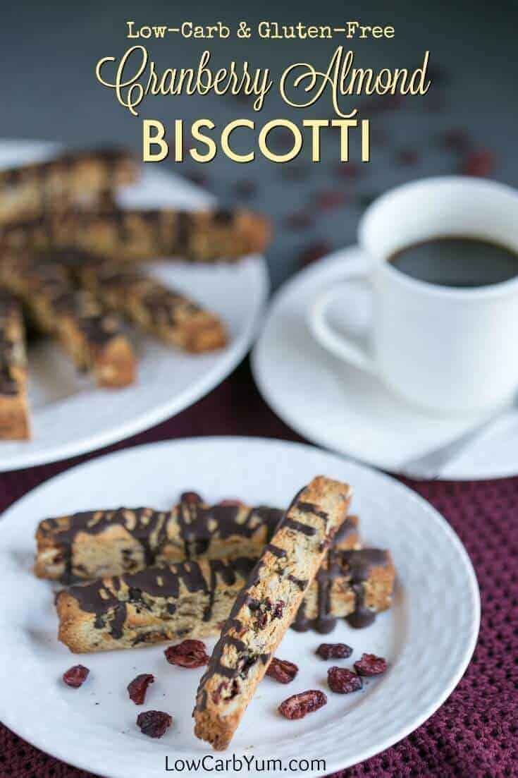 Low carb cranberry almond biscotti cookies