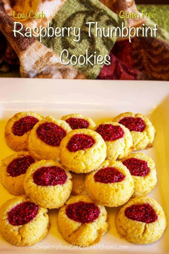 low carb gluten free raspberry thumbprint cookies