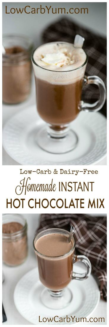 Need a homemade instant hot chocolate mix recipe that's low carb and dairy free? This recipe for sugar free hot cocoa mix is our favorite. | LowCarbYum.com