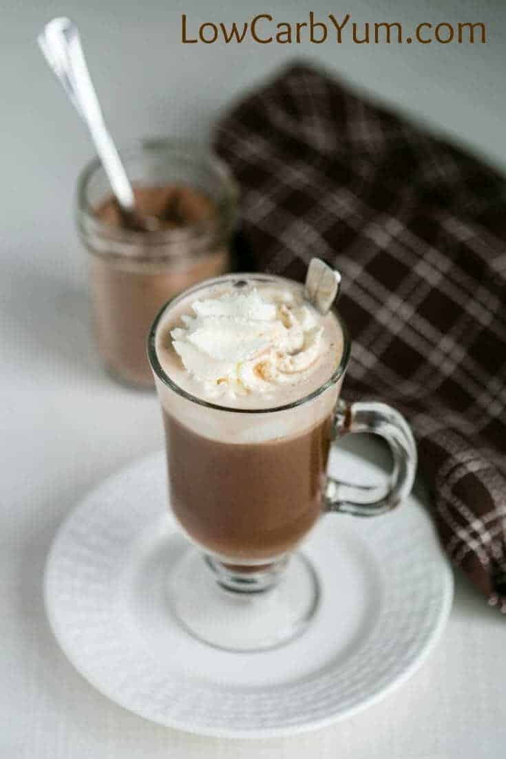 homemade instant hot chocolate mix recipe made with whipped cream on top