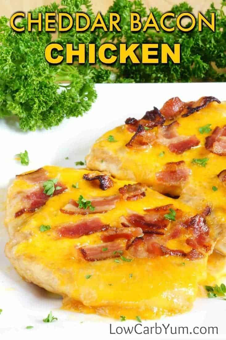 An easy baked ranch cheddar chicken bacon cheese recipe turns plain chicken into something special. A little teriyaki and ranch dressing ups the flavor. | lowcarbyum.com
