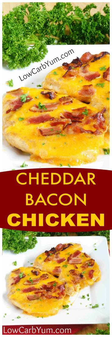 An easy baked ranch cheddar chicken bacon cheese recipe turns plain chicken into something special. A little teriyaki and ranch dressing ups the flavor. #lowcarb #keto #ketorecipes #chicken #chickenrecipe | lowcarbyum.com