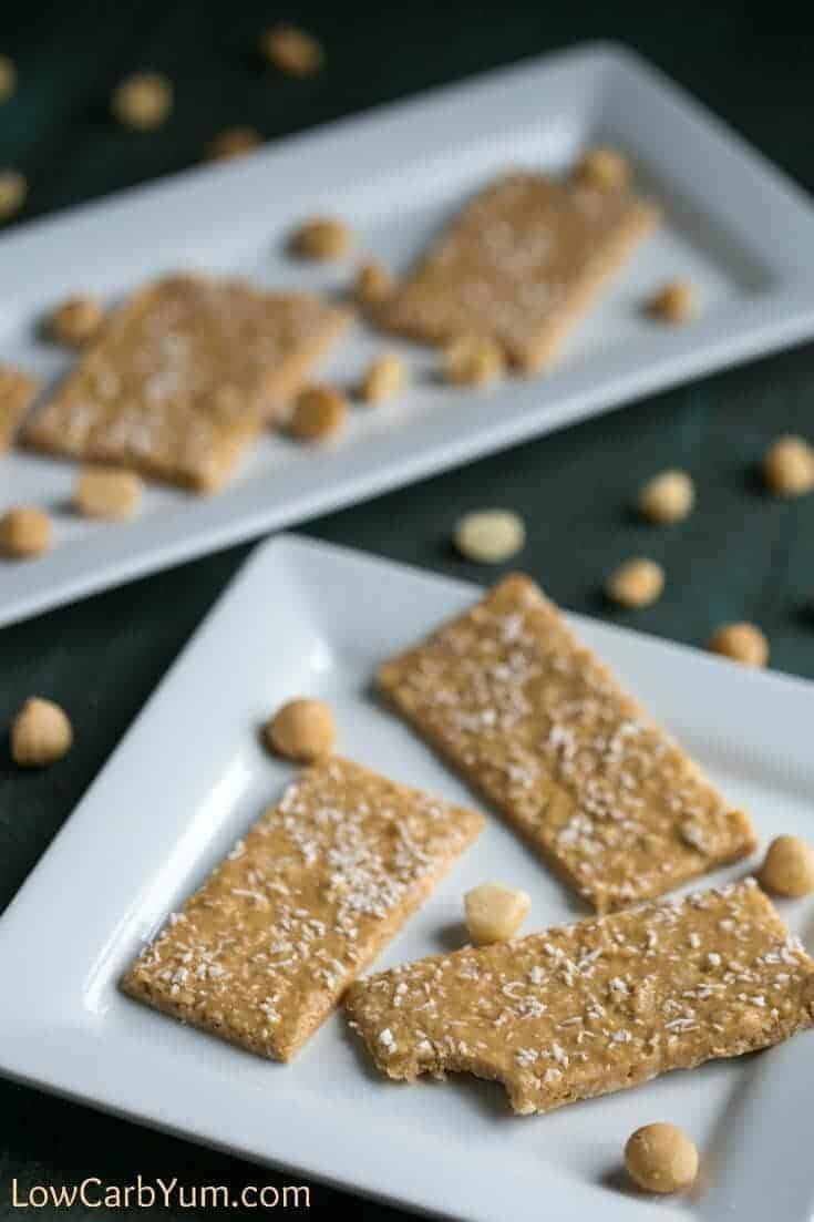 Low carb coconut macadamia bars from Breakfast in Five