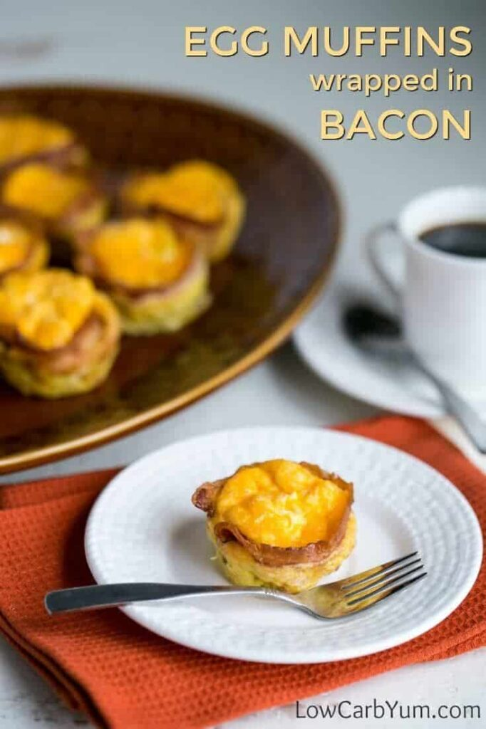 Low carb bacon egg muffins on platter and plate