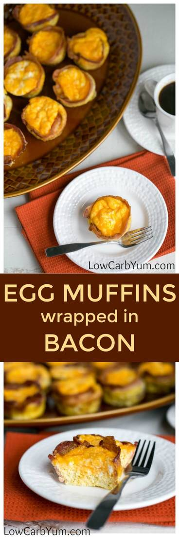Need an easy breakfast idea to make your life easier over the holidays? Try these 3-ingredient low carb egg muffins wrapped in bacon. #lowcarb #lowcarbrecipes| LowCarbYum.com