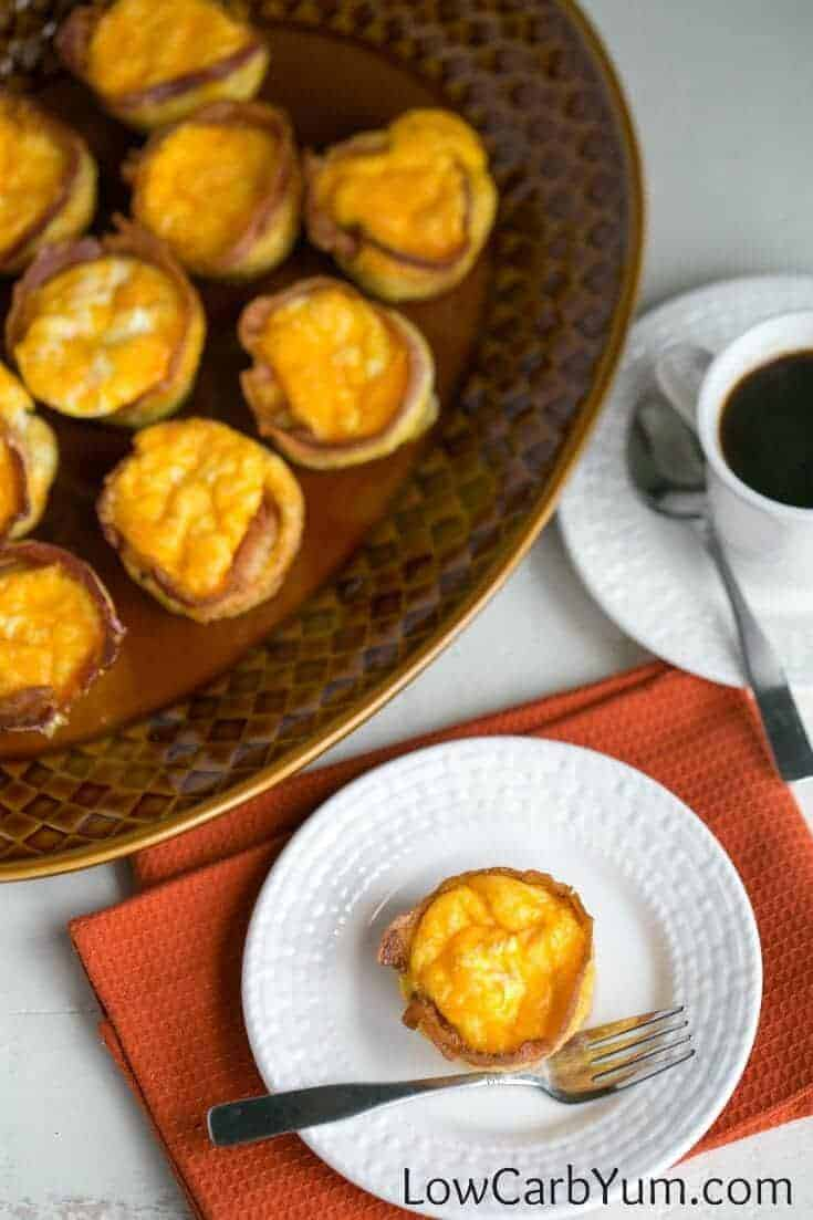 low carb breakfast muffins on platter and plate