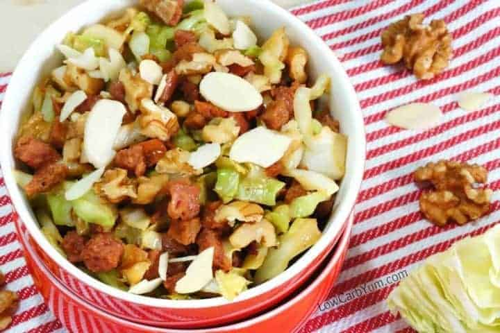 Low carb egg roll in a bowl with nuts