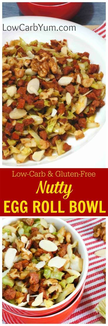 You'll love this nutty egg roll in a bowl recipe that doesn't require a wrapper. It's low carb, gluten-free, paleo friendly and chock full of flavor! | LowCarbYum.com