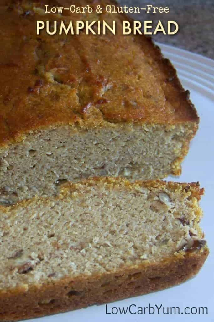A low carb and gluten free pumpkin bread bakes up nicely using only coconut flour. It's sweetened with a sugar free blend of stevia.