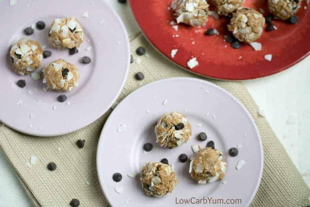 No bake almond butter balls with coconut and chocolate chips