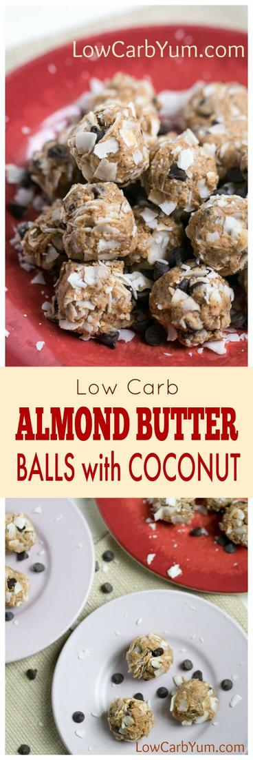 A no bake almond butter balls recipe that's quick and easy to make. These little protein bites are a perfect snack to boost energy during the day. #lowcarb #lowcarbsnack #nobakerecipe | LowCarbYum.com